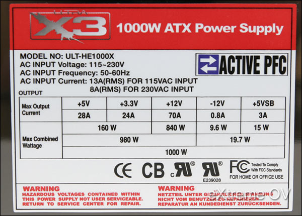 Ultra X3 1000W ATX Power Supply Review - Features and Specifications